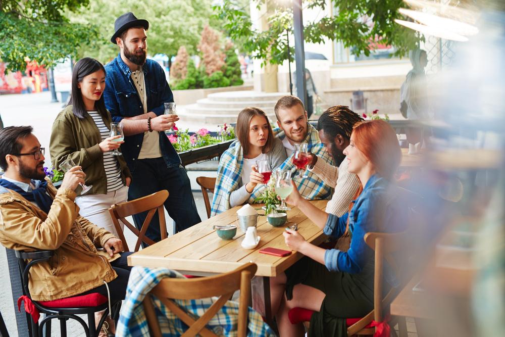 Millennial generation friends in a cafe