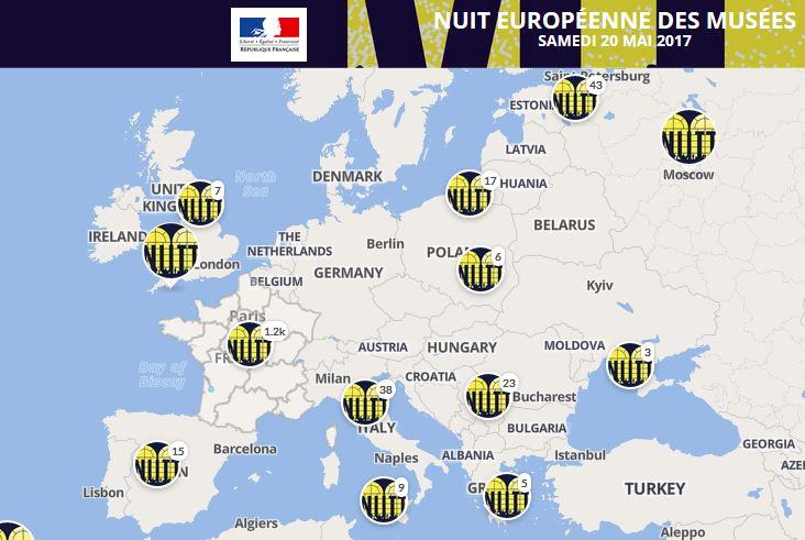 Map of Europe showing Nuit Européenne des Musée events