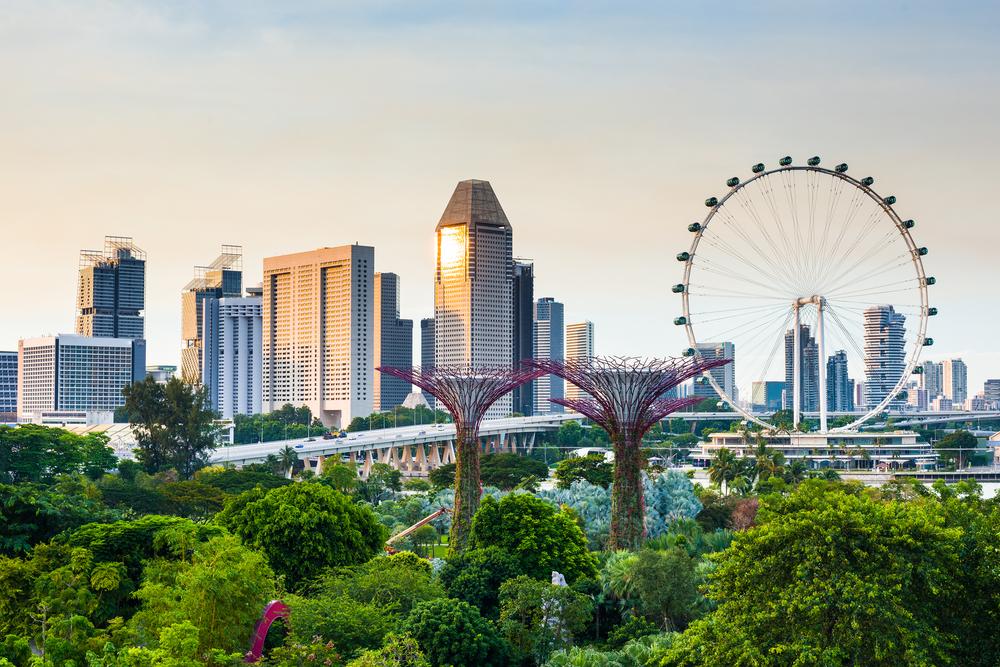 the famous Singapore skyline