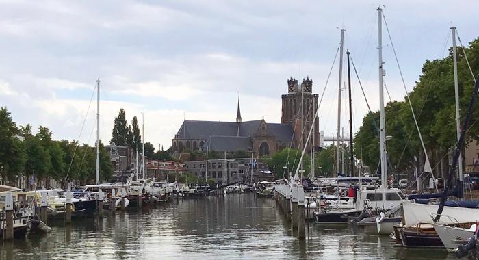 Dordrecht Grote Kerk and marina
