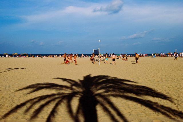 Las Arenas beach in August,  El Cabanyal, Valencia