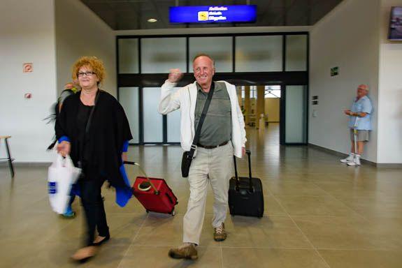 The fish passenger Mr Berry goes through Castellon airport arrivals
