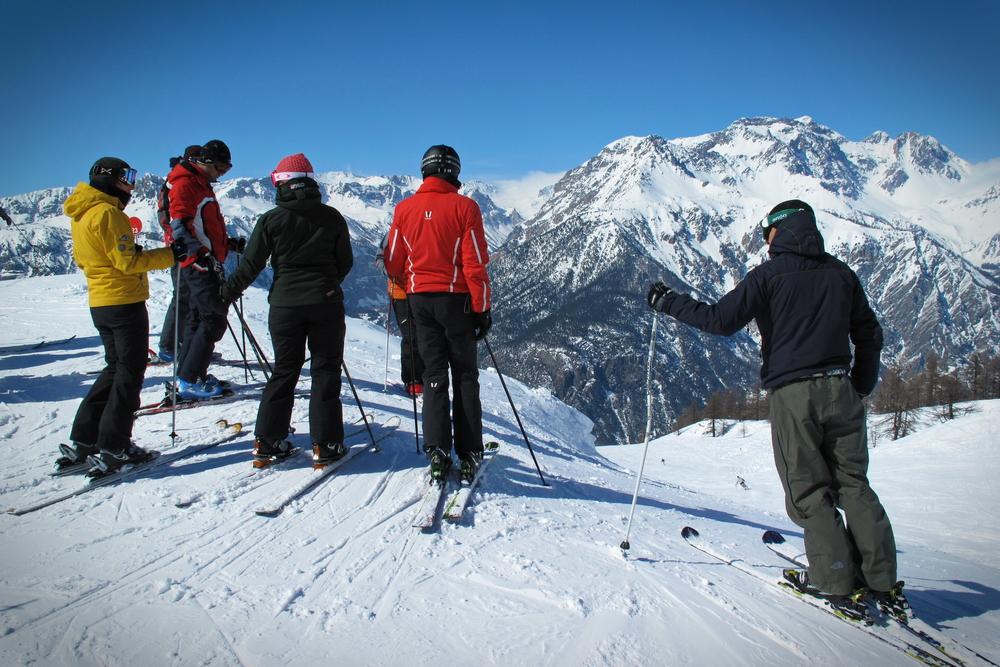 Panoramic view of Bardonecchia ski resort in the italian western Alps, Piedmont, Italy.