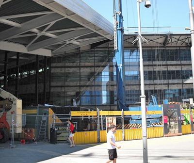Rotterdam central train station under construction