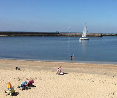 sunbathers at beach in Scheveningen