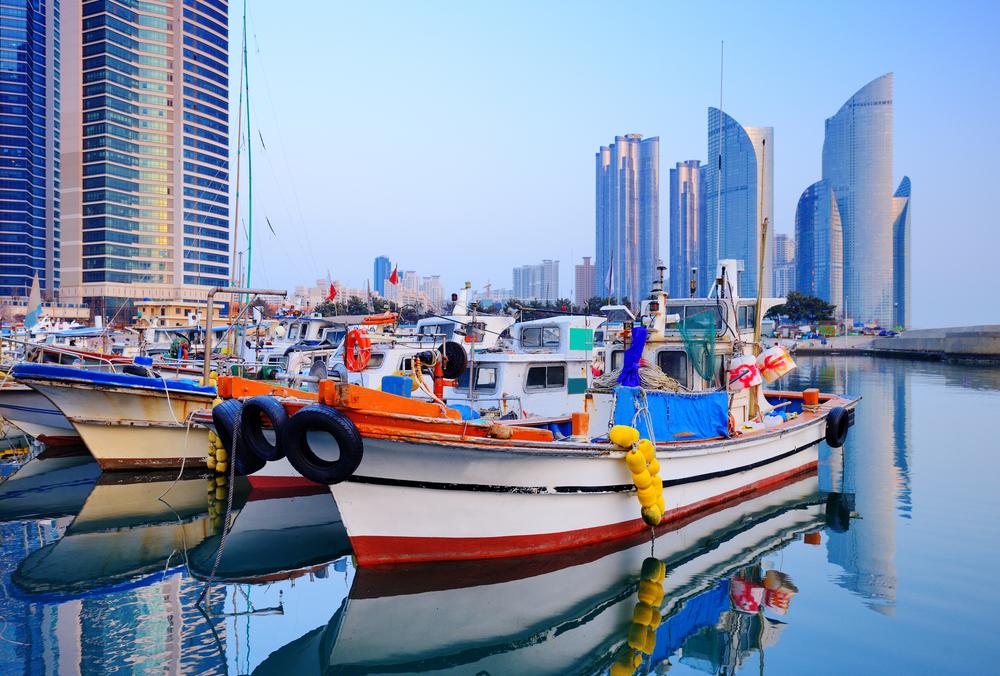 Boats at Haeundae, Busan, South Korea