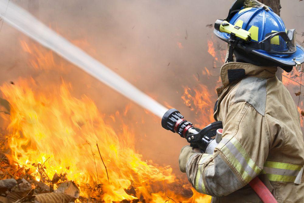 Firefighter hosing a raging forest fire