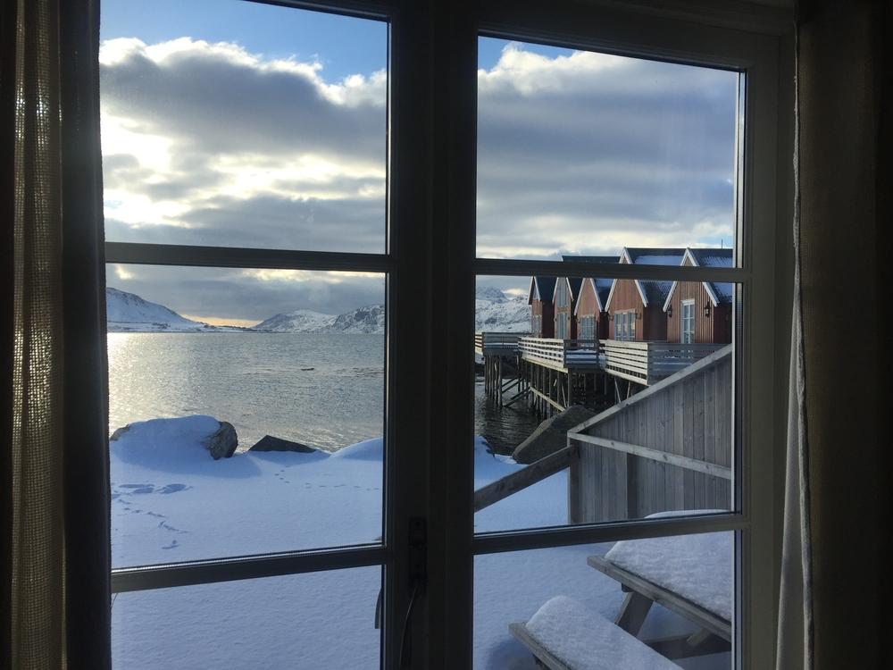 A wintery scene through windows